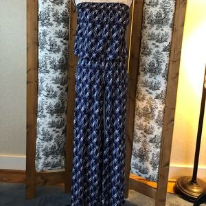 Blue patterned strapless jumper M Anthropology